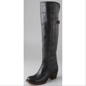 Frye Black Jane Tall Cuff Leather Riding Boots